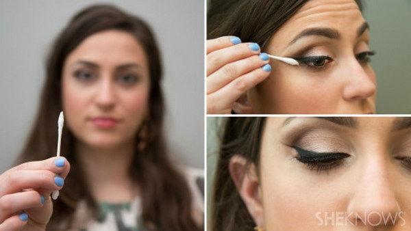 Use a cotton swab to make your own perfect winged eyeliner.
