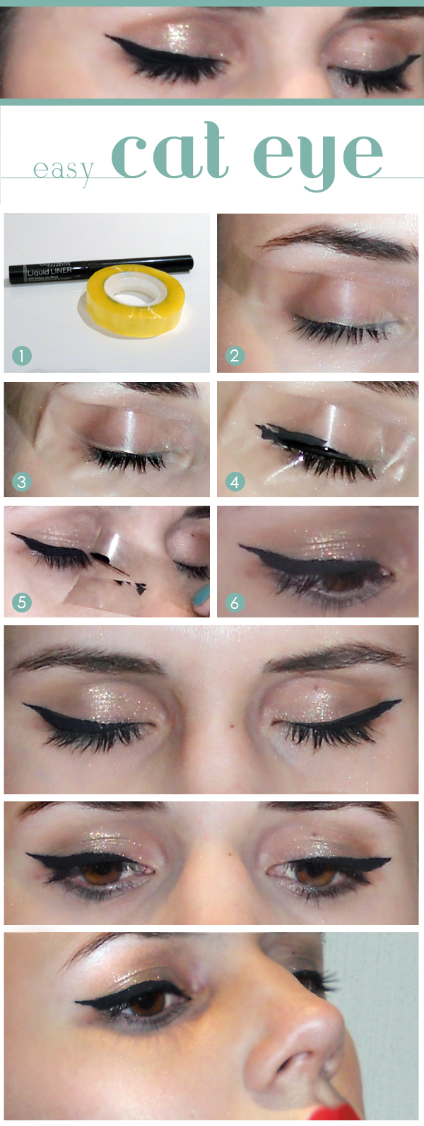 Place a tape just beneath your lower lash line and make a beautiful winged eyeliner.