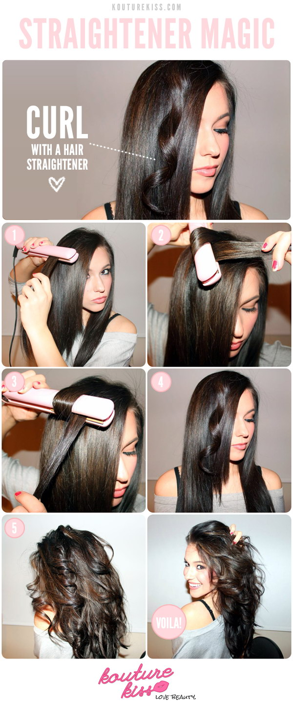 Curling Hair Hacks Using A Flat Iron.
