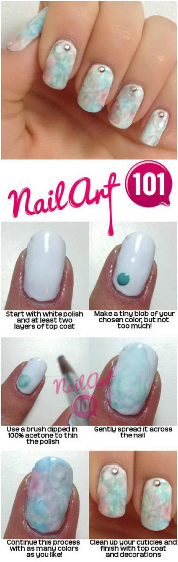 Create the Watercolor Effect on Your Nails.