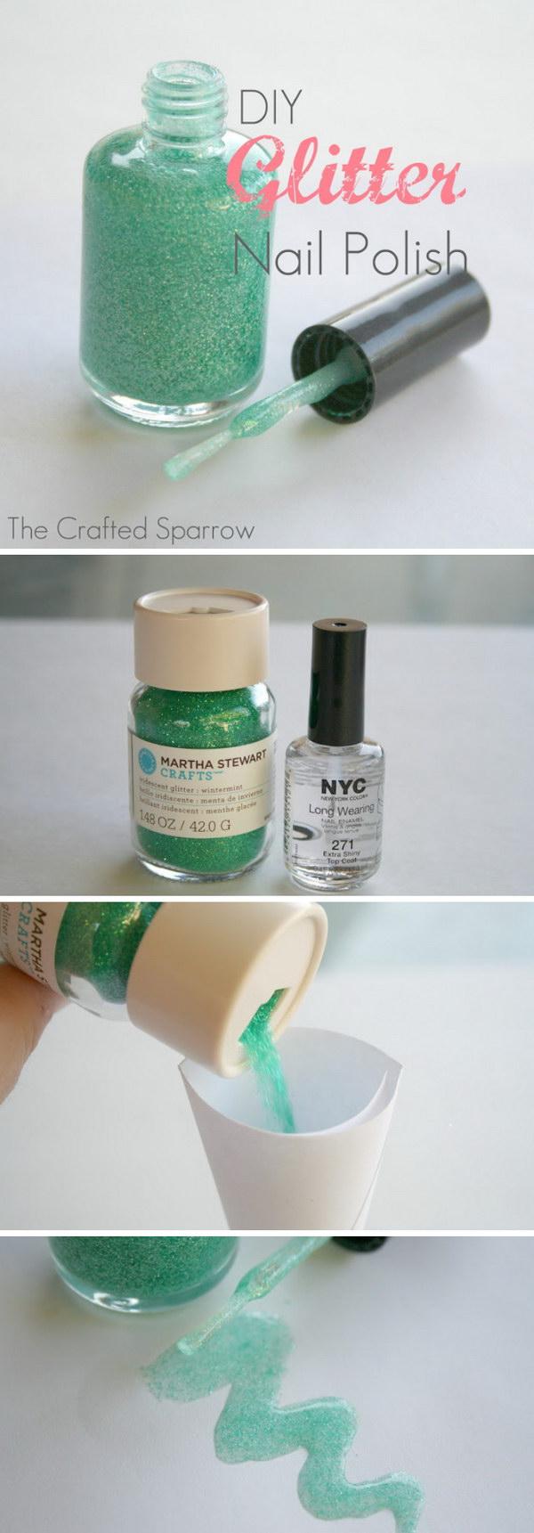 DIY Glitter Nail Polish. Mix a clear nail polish with craft glitter or an eye shadow make your own glitter nail polish!