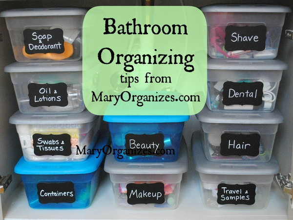 Keep The Undersink Area Organized With These Labeled Plastic Shoe Boxes