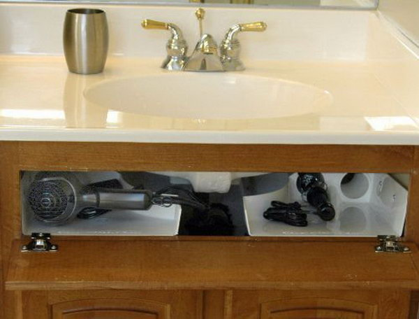Curling Iron Holder Under Bathroom Sink
