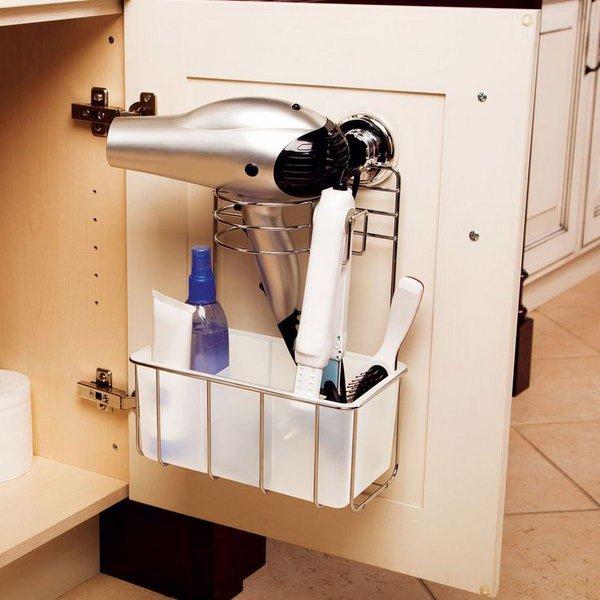 Install Shelves Under The Bathroom Sink For Hair Dryer Storage