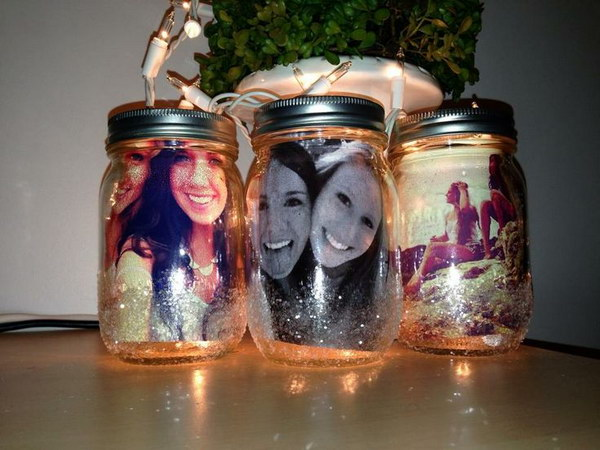 Photos in Mason Jar.