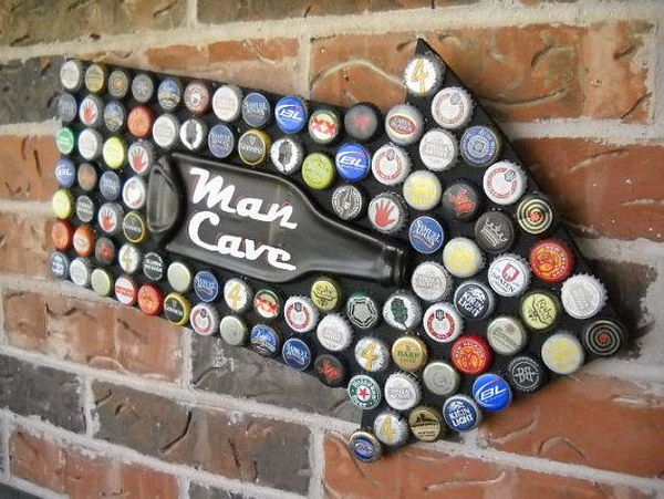 Man Cave Sign Made with Beer Bottle Caps.