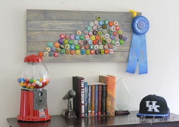 Bottle Cap State Art. What a great and simple idea to add color to our walls and show pride in our state at the same time. Check out the step-by-step tutorials