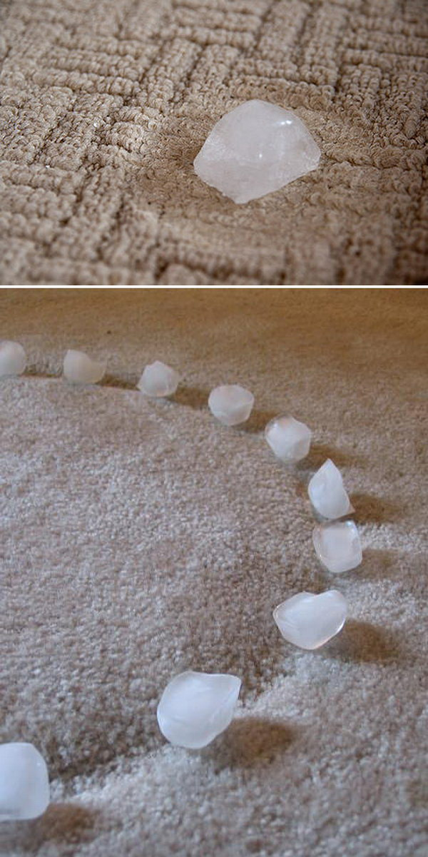 Quickly Fix Furniture Dents from Carpet with Ice Cubes.