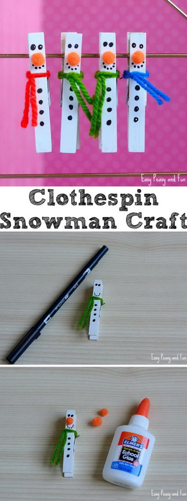 Clothespin Snowman Craft.