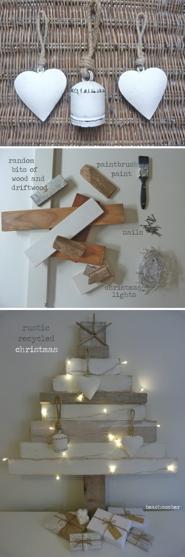 Christmas Tree Recycled From Scraps Of Old Wood & Driftwood.