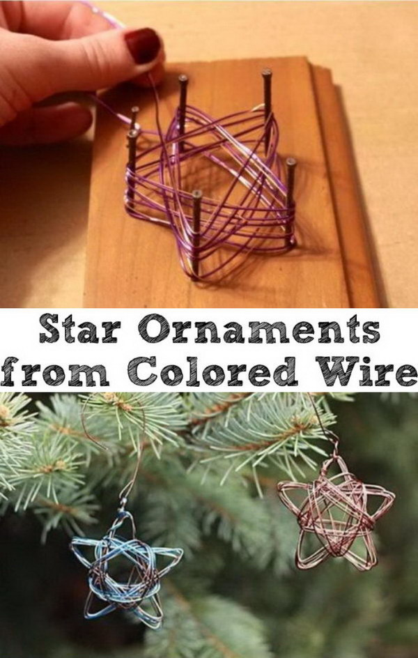 Beautiful Handmade Star Ornaments from Colored Wire.