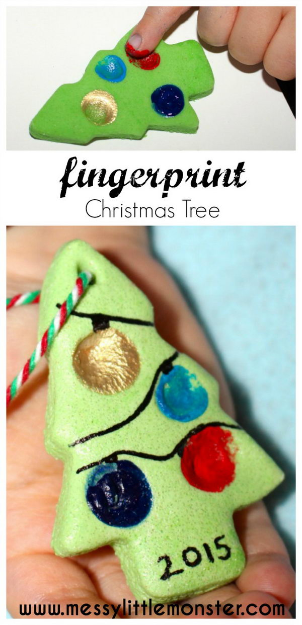 Salt Dough Fingerprint Christmas Tree Tag.