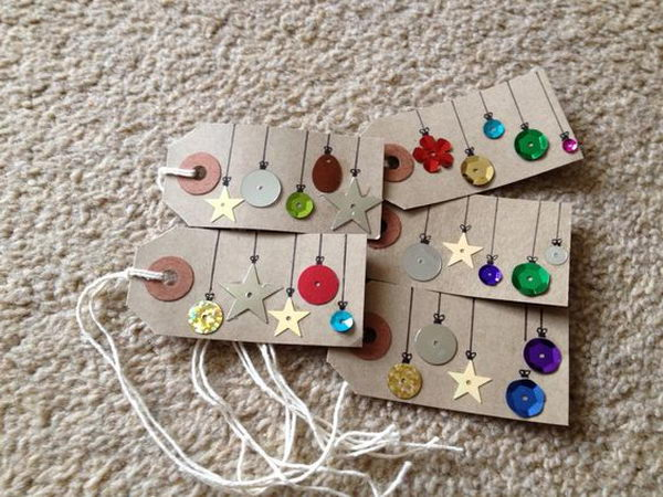 Cute Christmas Tags Made Out of Sequins, Buttons and Other Embellishments.
