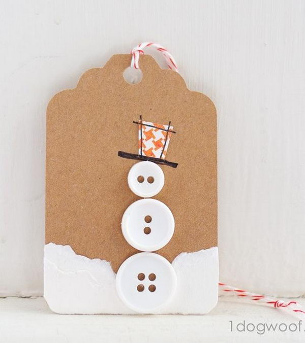 Button Snowman Gift Tag.
