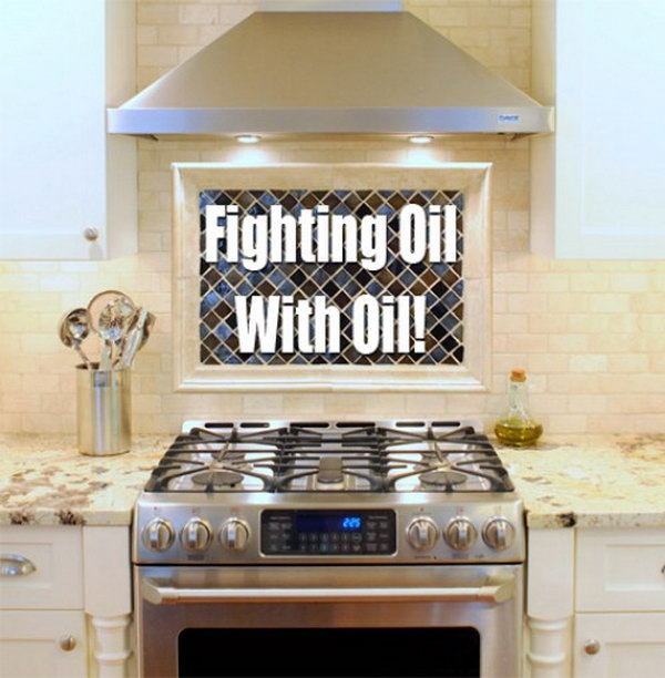 Cleaning Kitchen Oil Splatters With Oil