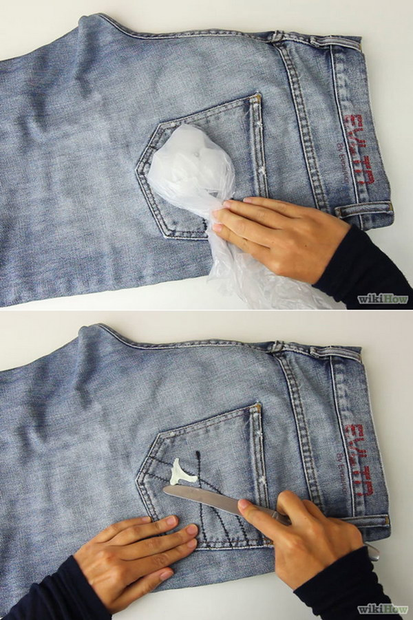Use Ice to Remove Chewing Gum from Clothes. Having chewing gum stuck to your favorite jeans can be very annoying. But don't worry! Here is a clever way to remove it with ice.