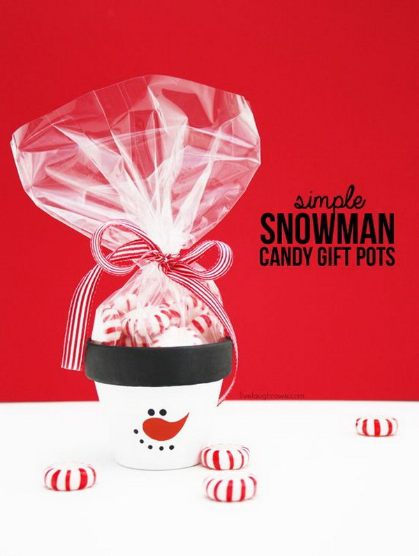 DIY Frosty the Snowman Candy Gift Pots.