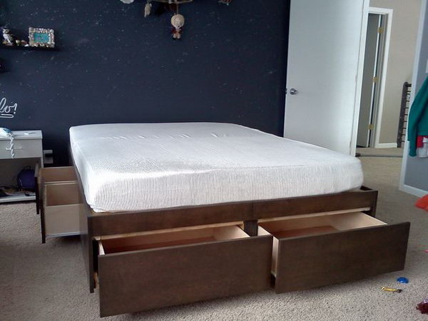 Platform Bed Frame with Drawers. Check out the tutorial