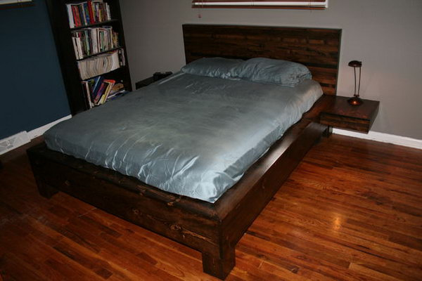 DIY Platform Bed with Floating Nightstands. See how to make it