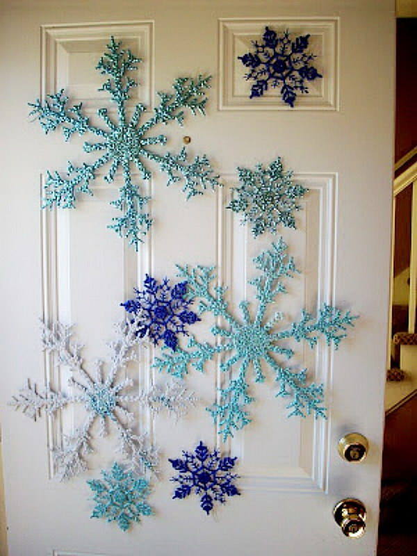 dollar store snowflake door decoration