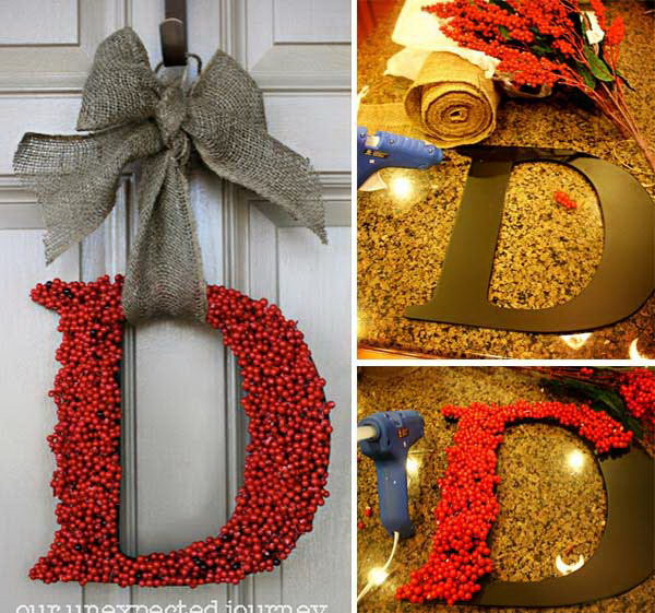 DIY Christmas Berries Wreath.