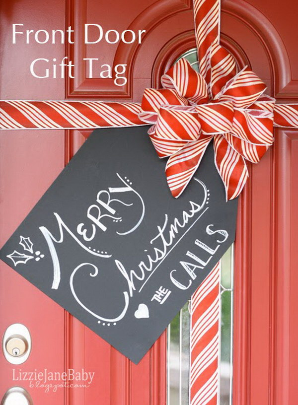 Gift Wrapped Front Door Decoration.