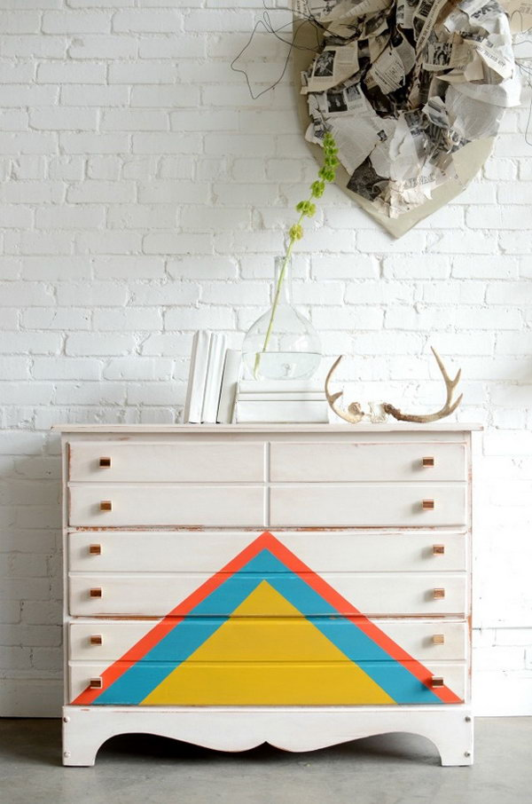 Multi-colored Triangles Patterned Dresser.