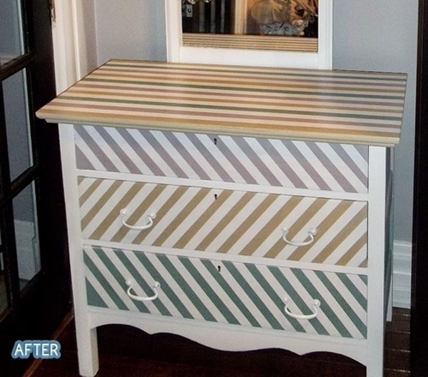 Strips Patterned Dresser. Get the instructions