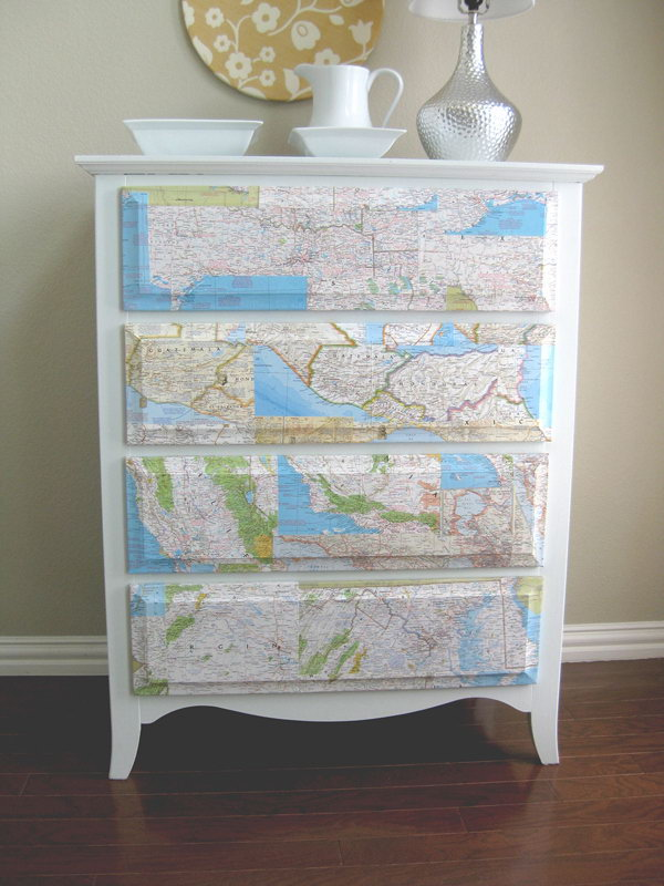Cover the Dresser with Map. See the directions