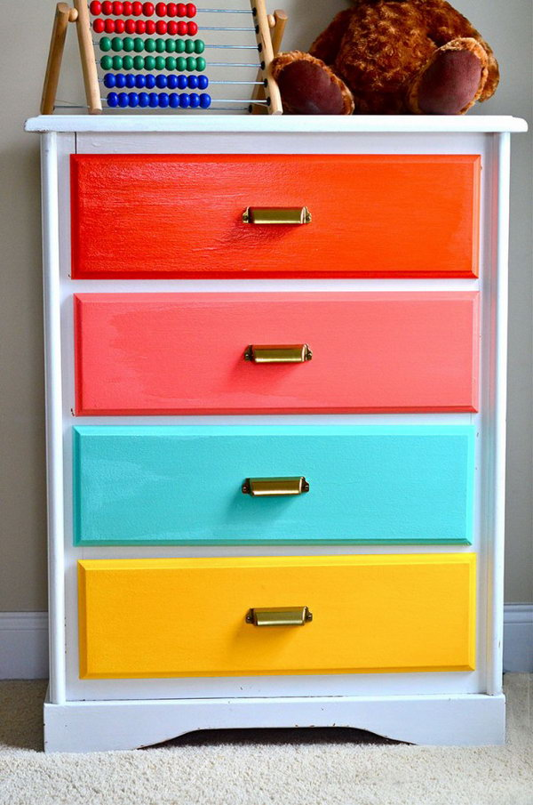Rainbow Colored Dresser. Get the instructions