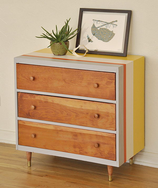 Striped Dresser Makeover. Get the tutorial