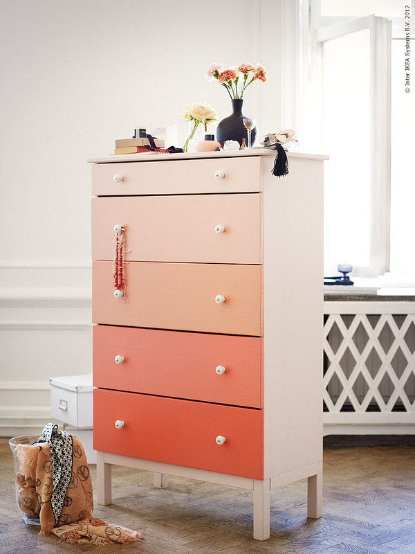 IKEA Hack for Ombre Dresser. See the directions