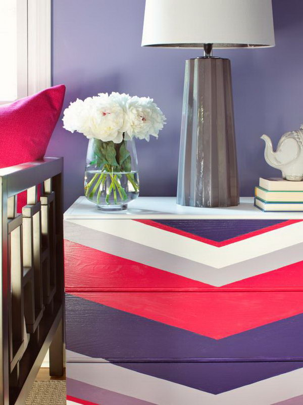 Chevron Patterned Dresser. See the steps