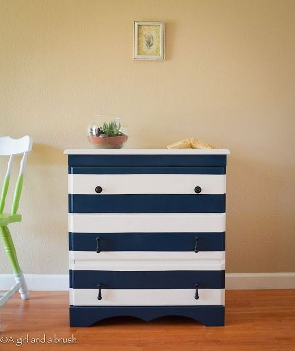 Nautical Strips Dresser. See the tutorial