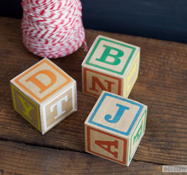 DIY Alphabet Block Gift Boxes. Get more details