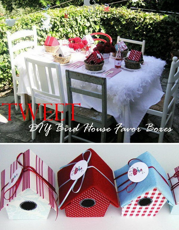 DIY Bird House Gift Boxes. Check out the tutorial