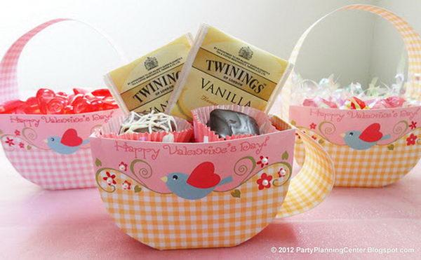 Teacup Printable Valentine Favor Box. Get more details