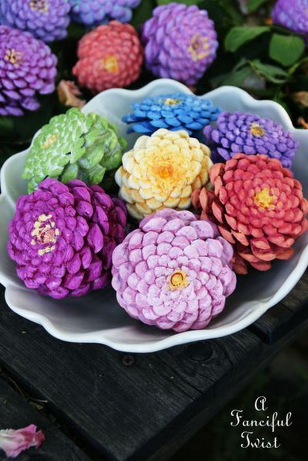 Pinecones painted to Look Like Zinnias.