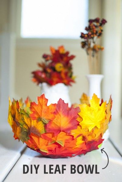 DIY Leaf Bowl. Do something with fallen leaves in your backyard. It's an easy and fun fall craft that helps bring autumn indoors. Tutorial via