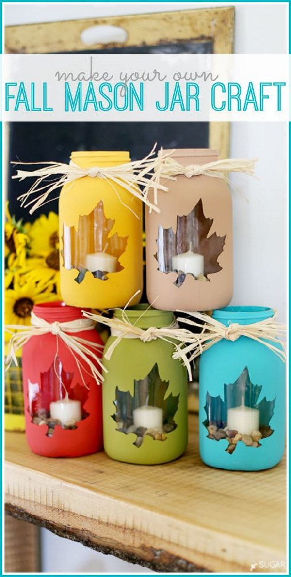 Fall Mason Jar Crafts. Simple way to paint mason jars in fall color families. Love the leaf shape on the jars. Dress up your table with these fabulous mason jar centerpieces!