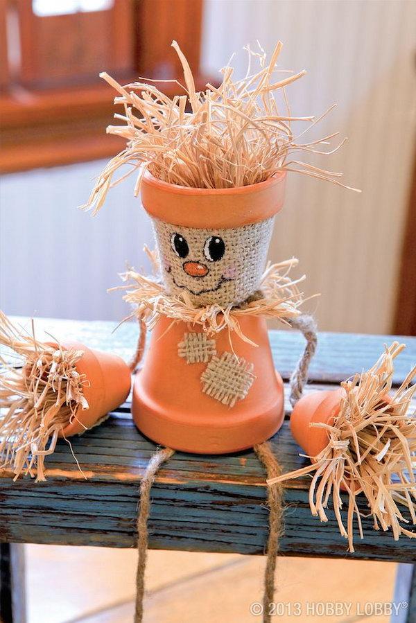 A Fall DIY Terracotta Scarecrow.