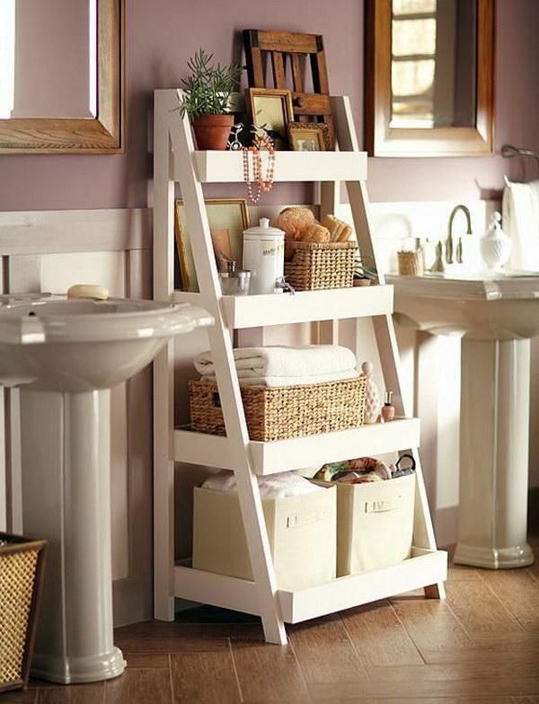 DIY Bathroom Storage Shelves.