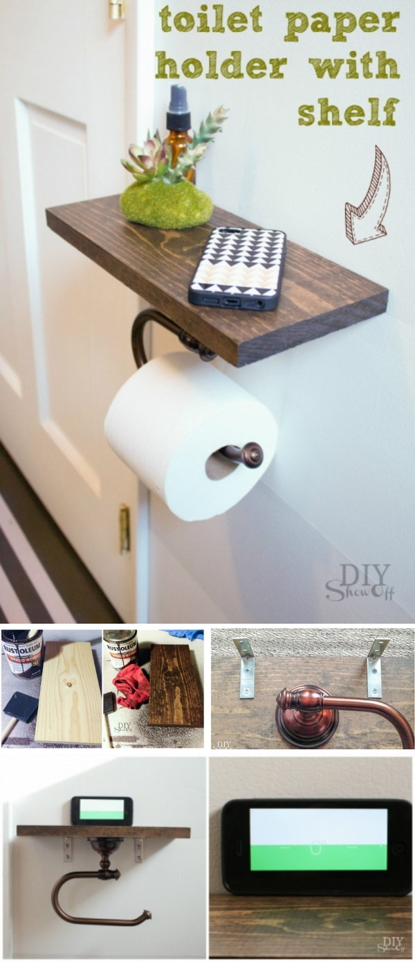 DIY Toilet Paper Holder with Shelf.