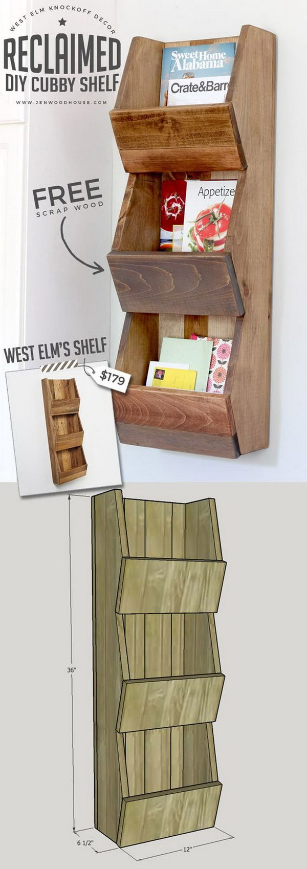 West Elm Knockoff, Reclaimed Cubby Shelf.