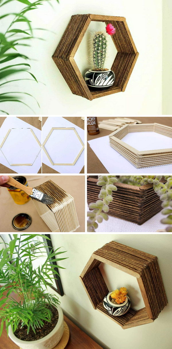 DIY Popsicle Stick Hexagon Shelf.