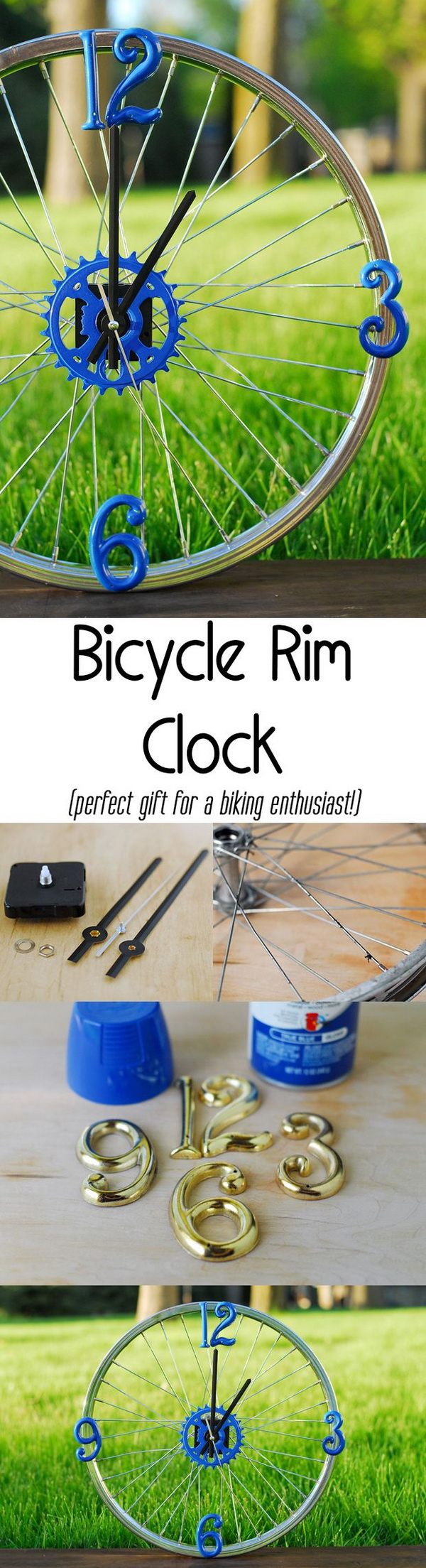 DIY Bicycle Wheel Clock. See the tutorial