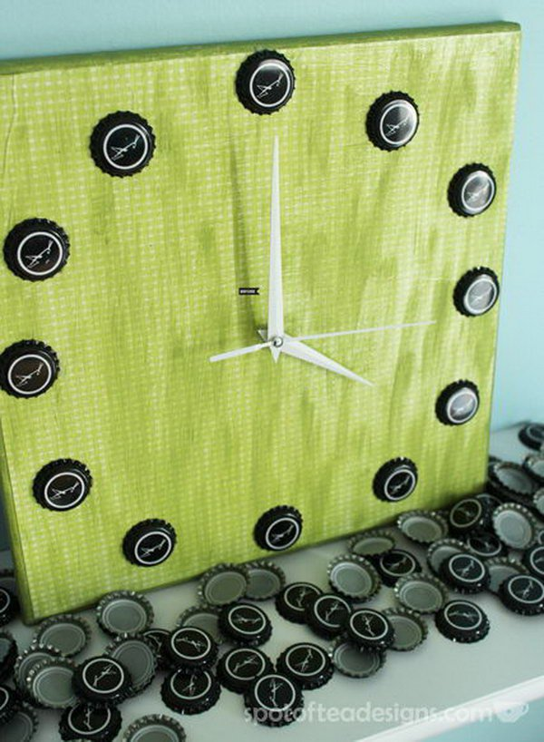 Beer Bottle Cap Wall Clock. Check out the steps