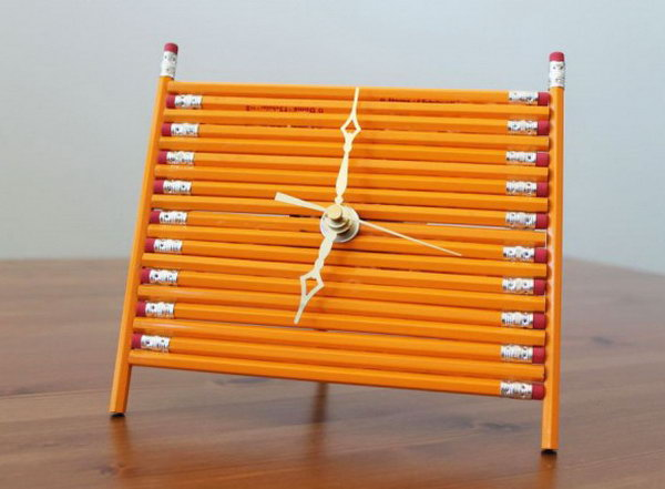 Pencil Desk Clock. Get the tutorial
