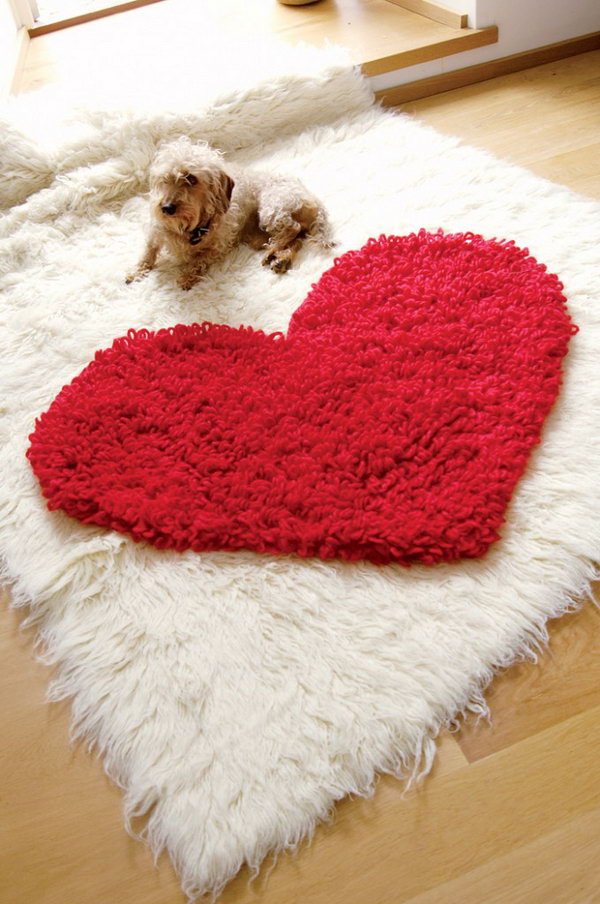 Crochet Heart Rug. Love this easy lovely cute crochet heart rug with easy step-by-step pictures! See how to