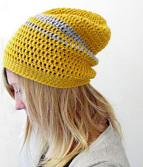 Crochet Urban Slouchy Beanie. Be cozy and beautiful through the cold in a stretchy and adorable crochet beanie.